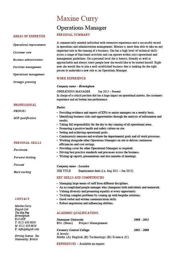 operations manager resume  job description  example  template  sample  work  projects  resources