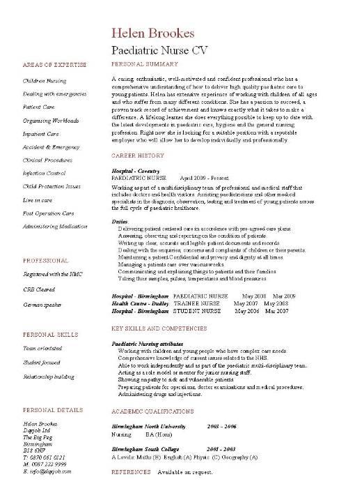 paediatric nurse cv template purchase