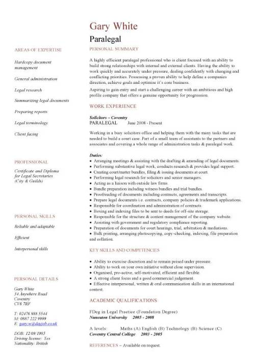 Paralegal CV sample