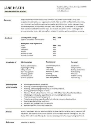 entry level personal assistant resume template