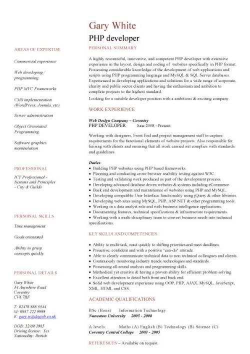 PHP developer CV sample, areas of expertise, web design jobs ...