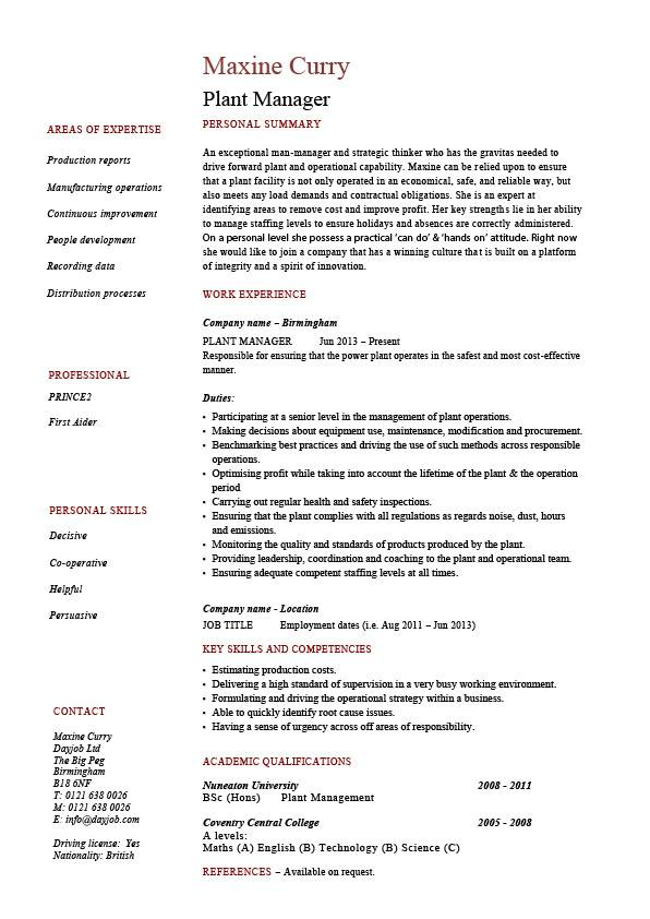 Plant Manager Resume Production Job Description CV Example
