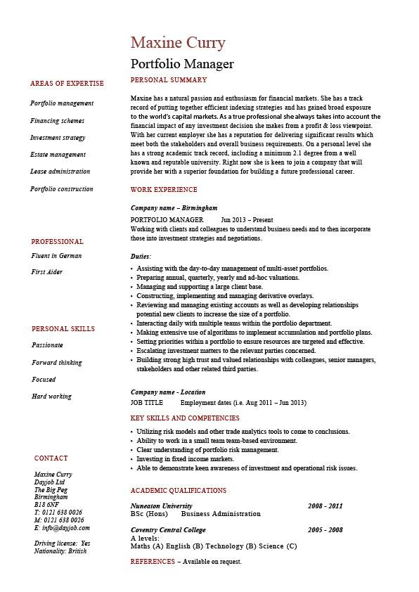 portfolio manager resume  investments  cv  job description