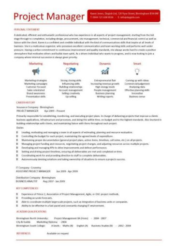 Project Manager Cv Template Construction Management Jobs