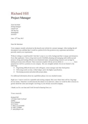 project manager cover letter example 1