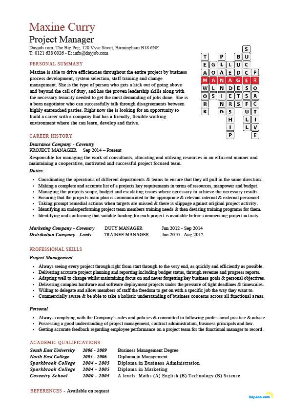project manager crossword CV template