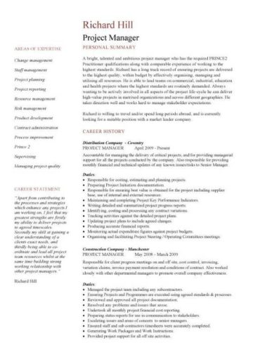 Project Manager CV Example 1 2 Page