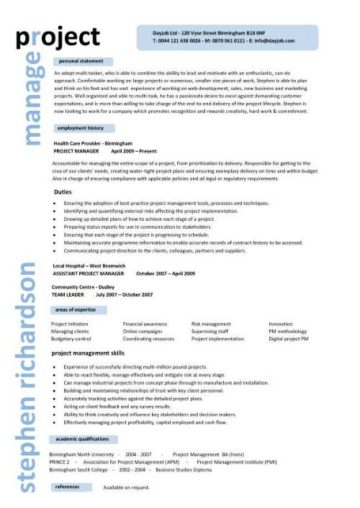 Project Manager CV Example 8