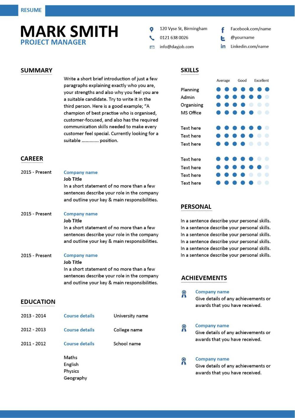 modern project manager resume 1 templates