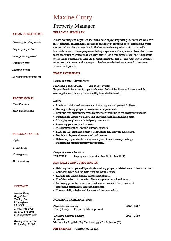 Property Manager Resume Example Sample Template Job Description
