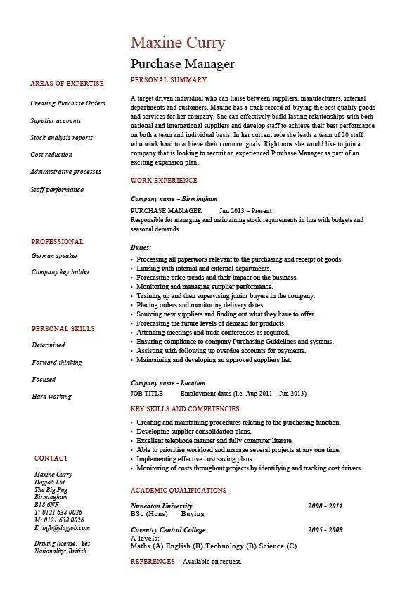 purchase manager resume  job description  samples