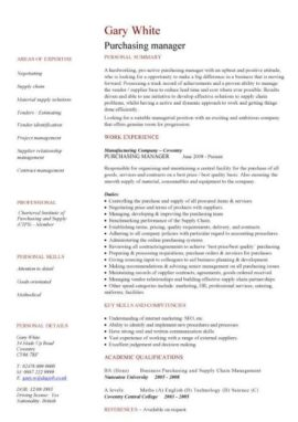 purchasing manager CV template