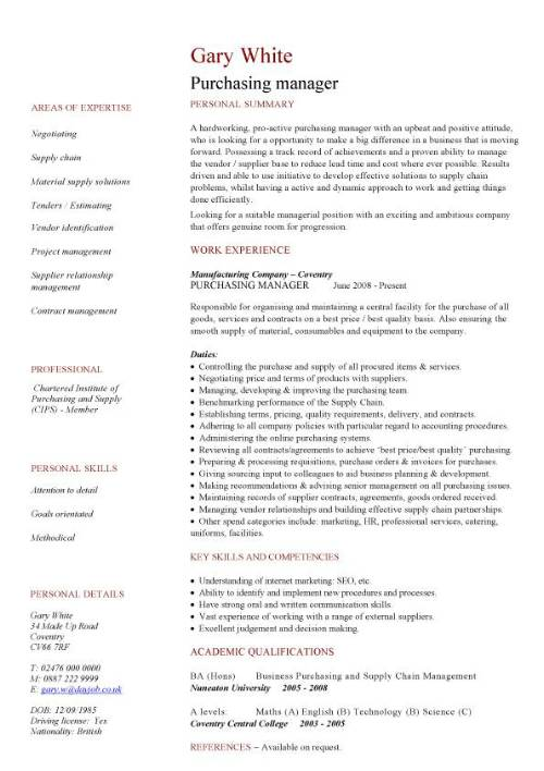 purchasing manager cv sample