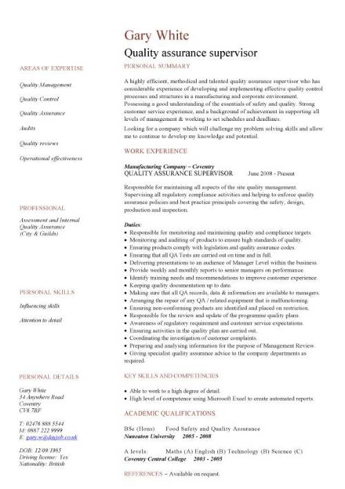 quality assurance cv sample