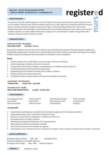 Registered Nurse CV Resume Nursing Template