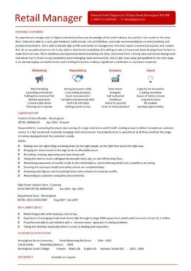 Retail Manager CV 2 1 Page Version