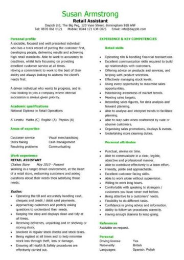 retail cv template  sales environment  sales assistant cv  shop work  store manager resume