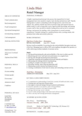 Retail Manager CV 1 Page Version