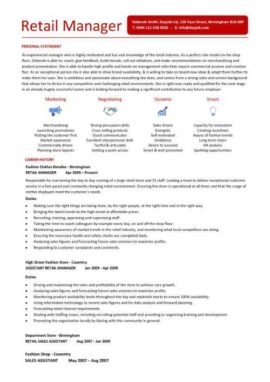 Retail Manager CV 2 Page Version