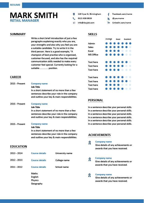 Retail Manager CV Template Resume Examples Job Description