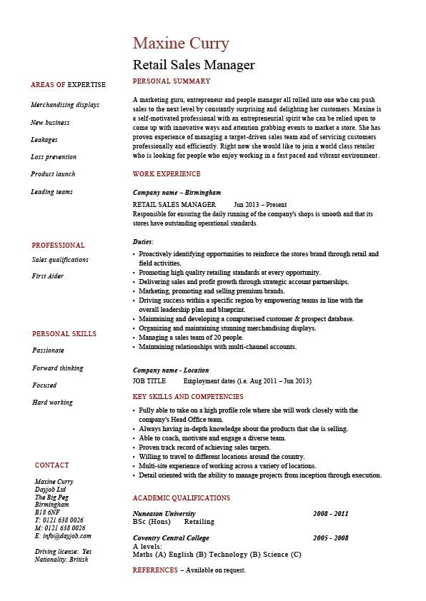 retail sales manager resume  example  job description  sample  template  marketing  business