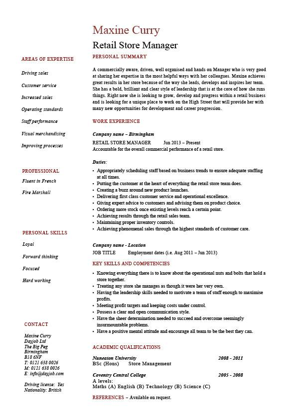 Retail Store Manager Resume Job Description Sample Example