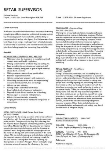 Demonstrate Your Team Leading And Supervisory Skills With A Fantastic CV Layout Like This One
