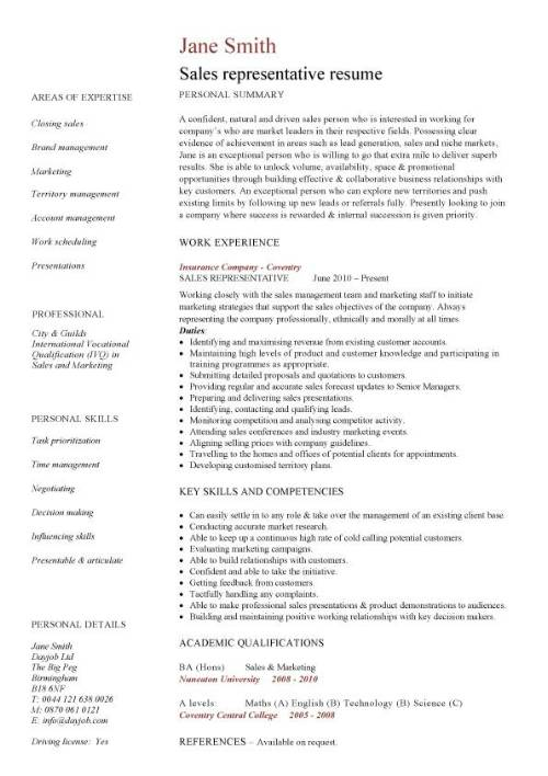 sales rep resume templates