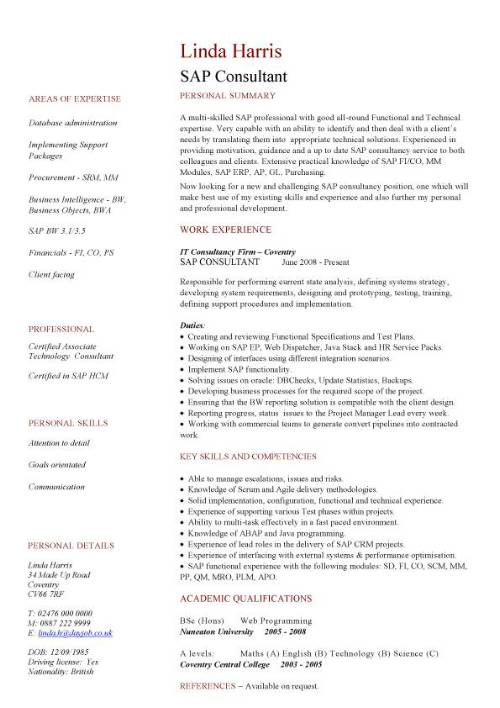 sap cv sample sap jobs resume writing a curriculum vitae cv
