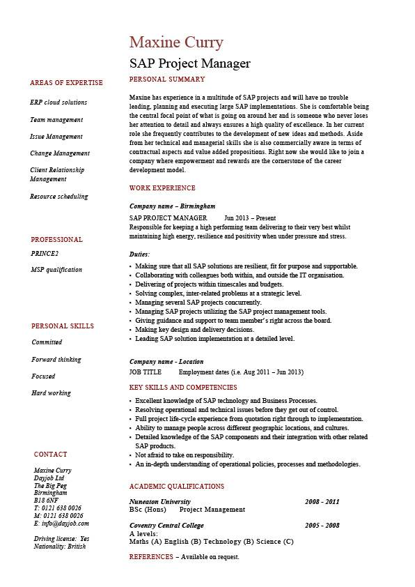 Sap Project Manager Resume Sample Job Description Career History Cv
