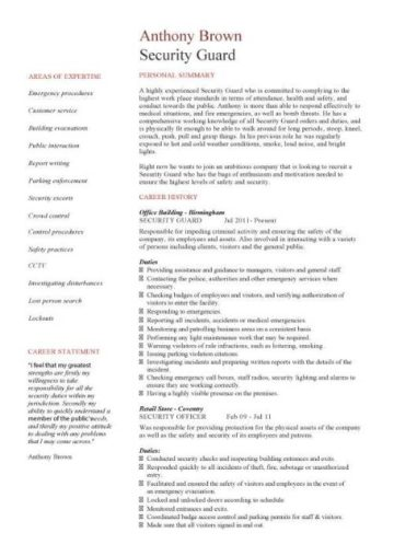 Security Guard Resume Template 1 2 Page