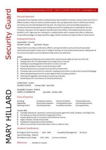 security guard cv sample