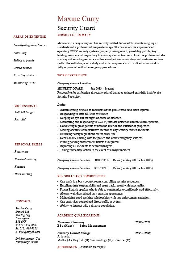 security guard resume 1  work duties  example  sample