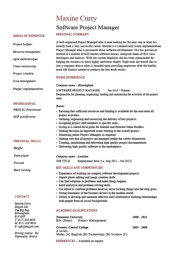 Software Project Manager Resume Example Sample Fixing Bugs