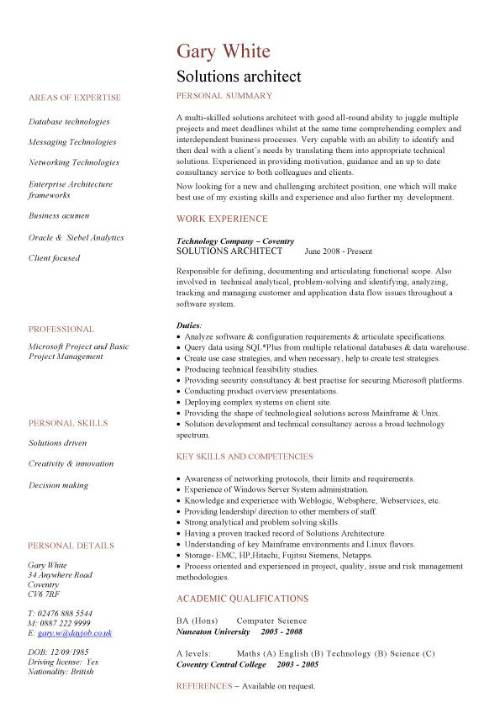 solutions architect cv sample  cv writing  career history