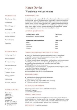 entry level Warehouse worker resume template