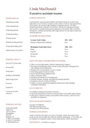 entry level Executive assistant resume template