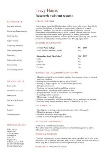 entry level Research assistant resume template