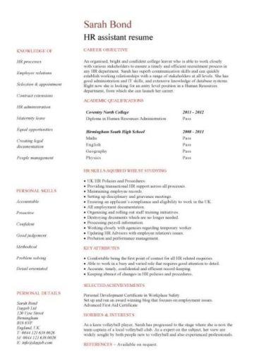 entry level HR assistant resume template