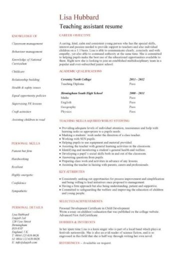 entry level Teaching assistant resume