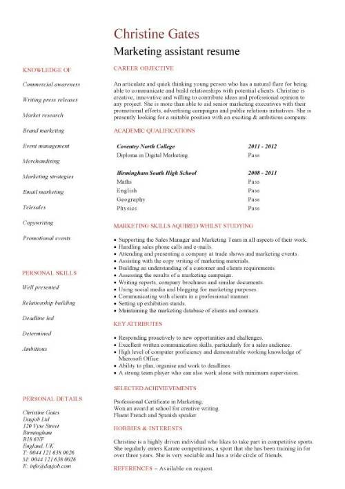 entry level Marketing assistant resume template