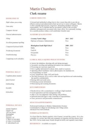 entry level Clerk CV template