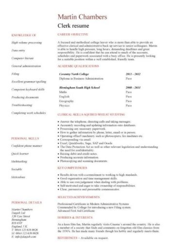 entry level Clerk CV template