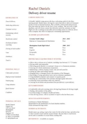 entry level Delivery driver resume template