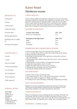 entry level Hairdresser resume template