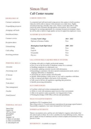 entry level Call center resume