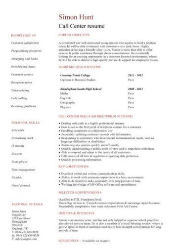 entry level Call center resume