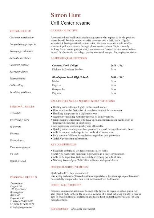 resume for call center job