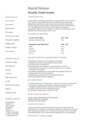 entry level Security guard resume