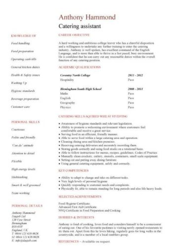 entry level Catering Assistant CV template